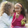 Two girls eating grapes — Stock Photo #52042219