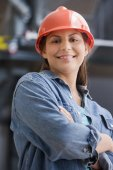 Hispanic female construction worker — Stock Photo
