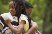 African father and daughter hugging — Stock Photo