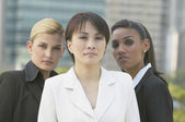 Three multi-ethnic businesswomen outdoors — Stock Photo