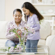 Mother and daughter arranging flowers — Stock Photo #52067617