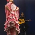 Hispanic female flamenco dancer with guitar player — Stock Photo #52069279