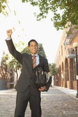 Asian businessman cheering — Stock Photo