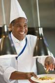 Mixed Race male chef — Stock Photo
