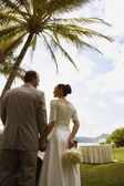 Bride and groom under palm tree — Stock Photo