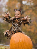 African girl in Halloween costume — Stock Photo