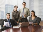 Hispanic businesspeople in conference room — Stock Photo