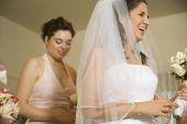 Hispanic bride laughing — Foto de Stock