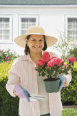 Hispanic woman gardening — Stock Photo