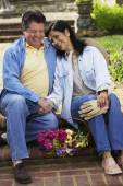 Hispanic couple laughing — Stock Photo