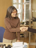 Asian businesswoman shaking hands — Stock Photo