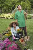 Senior Asian couple gardening — Stock Photo