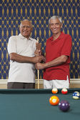 Multi-ethnic senior men holding pool cue — Stock Photo