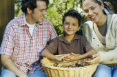 Family with basket of organic produce — Stock Photo