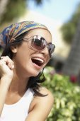 Hispanic woman laughing — Stock Photo