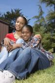 African mother and son hugging — Stock Photo