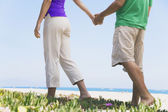 Asian couple holding hands at beach — Foto de Stock