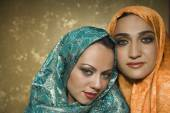 Middle Eastern women wearing head scarves — Stock Photo