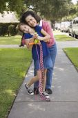Grandmother and granddaughter hugging — Stock Photo
