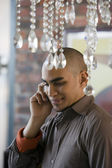 African American man talking on cell phone — Stock Photo