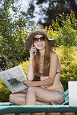 Hispanic woman in bikini — Stock Photo