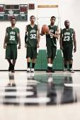 Serious African basketball players in gym — Stock Photo