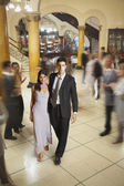 Young Hispanic couple in evening wear — Stock Photo
