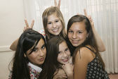 Multi-ethnic girls being silly — Stock Photo