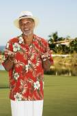 African man wearing Hawaiian shirt — Stock Photo