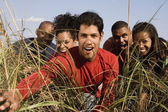 Multi-ethnic friends looking through tall grass — Stock Photo