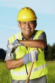 Hispanic man wearing hard hat — Stock Photo