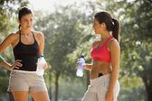 Hispanic women wearing athletic gear — Stock Photo