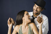 Hispanic couple laughing — Stock Photo