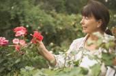 Senior Hispanic woman looking at rose — Stock Photo