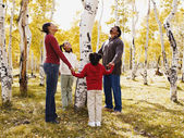 African family holding hands around tree — Stock Photo