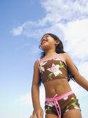 Pacific Islander girl wearing bathing suit — Stock Photo