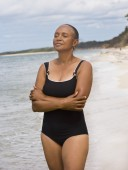 Senior African American woman at beach — Stock Photo