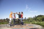 Multi-ethnic couples toasting outdoors — Stock Photo