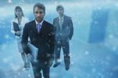 Sydamerikanska företagare i poolen — Stockfoto