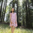 Asian girl standing in woods — Stock Photo #52080497