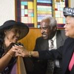 African American senior talking in church — Stock Photo #52081231