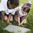 Multi-ethnic children looking at frog — Stock Photo #52081387
