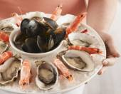 Plate of seafood — Stock Photo