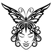 Woman face with butterfly hairdress — Stock Vector