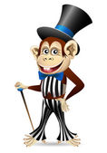Cheerful monkey in dandy clothes — Stock Vector