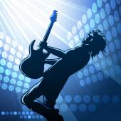 Rock guitar player on stage — Stock Vector