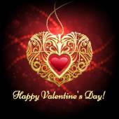 Heart shaped pendant against festive red background — Stock Vector