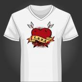V neck shirt template with heart piersed by arrows — Stock Vector