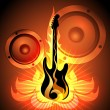 Music theme with flaming guitar — Stock Vector #58095559
