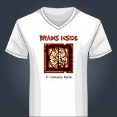 V neck shirt template with human brain inside main PC unit — Stock Vector